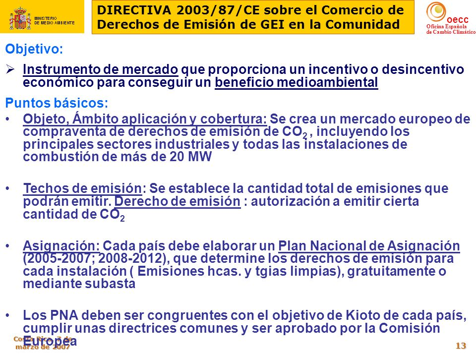 DIRECTIVA 2003/87/CE sobre el Comercio de Derechos de Emisión de GEI en la Comunidad