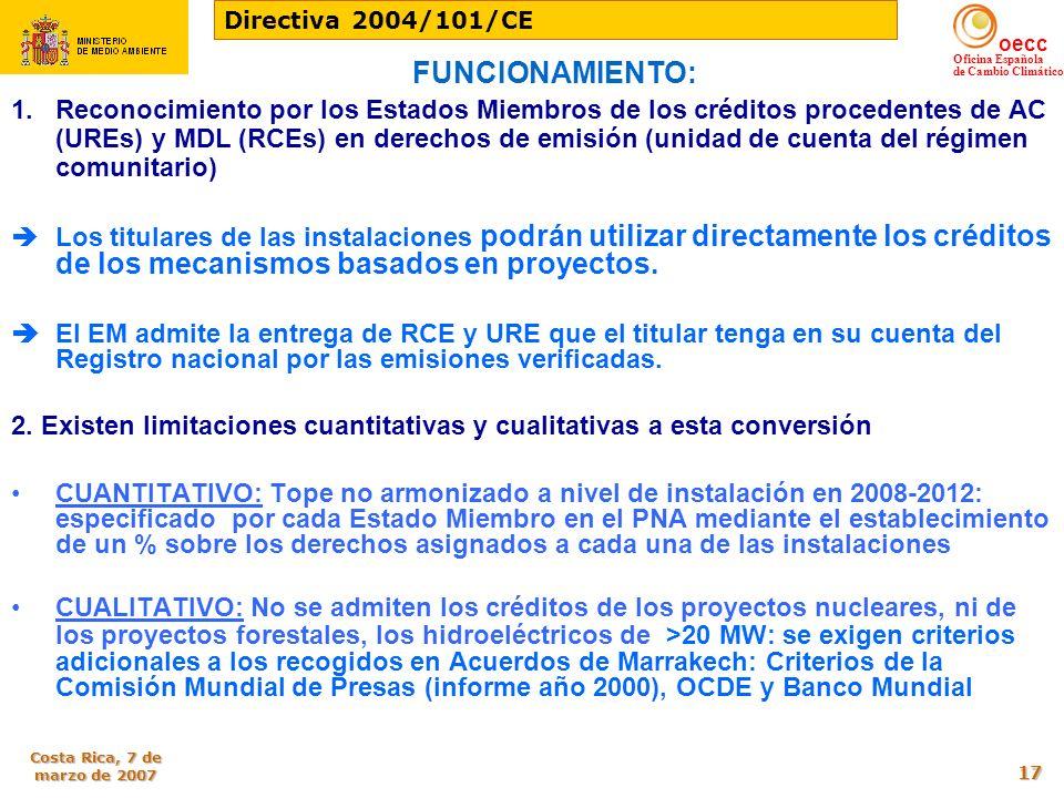 Directiva 2004/101/CE FUNCIONAMIENTO: