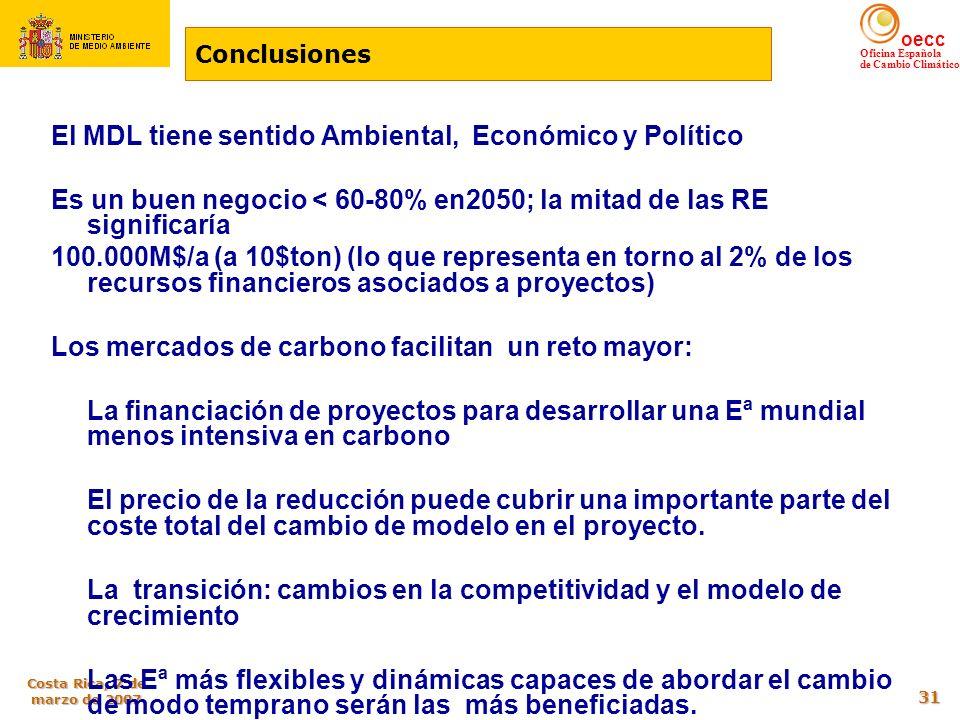 El MDL tiene sentido Ambiental, Económico y Político