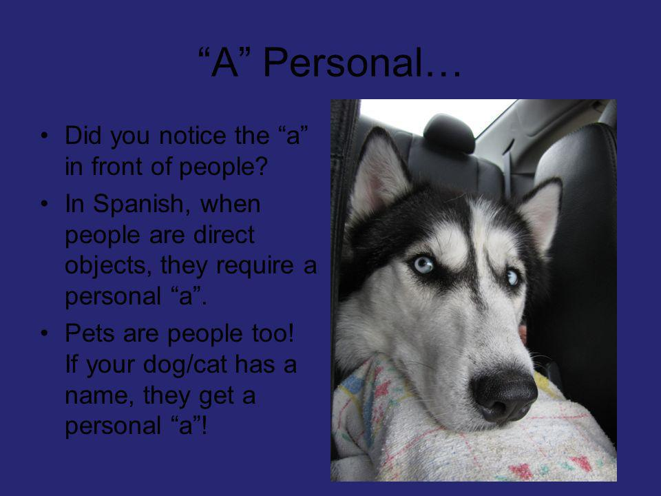 A Personal… Did you notice the a in front of people