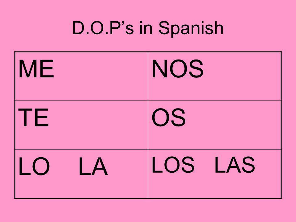 D.O.P's in Spanish ME NOS TE OS LO LA LOS LAS