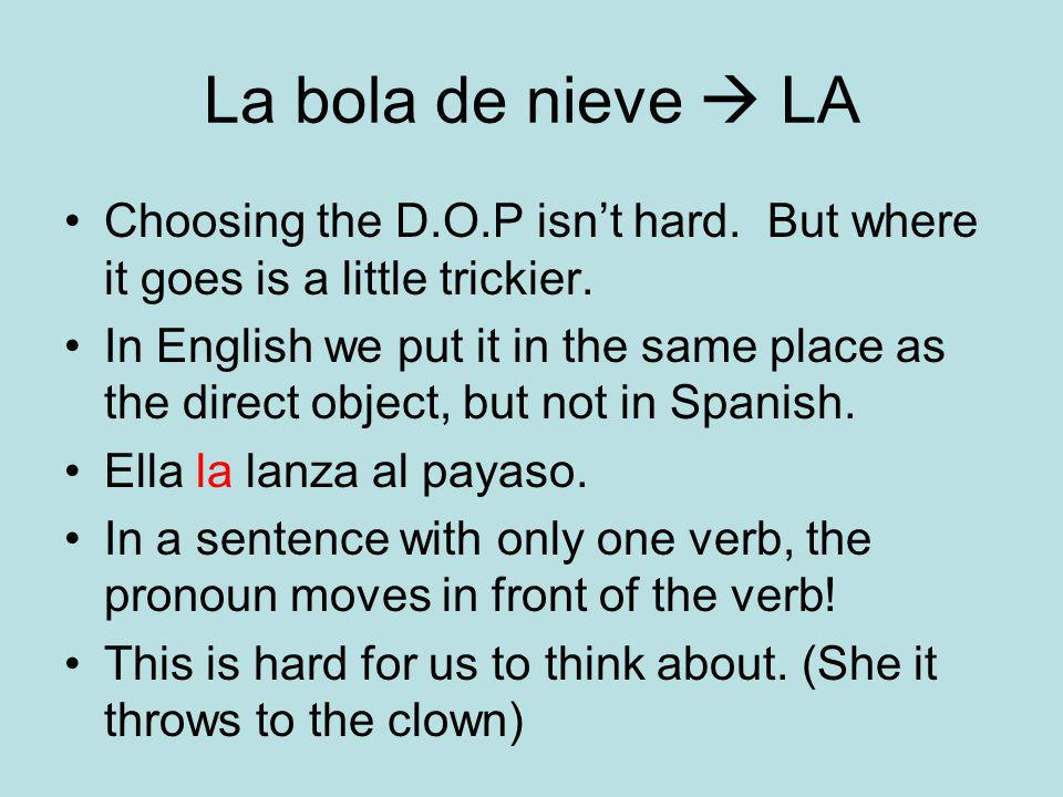La bola de nieve  LA Choosing the D.O.P isn't hard. But where it goes is a little trickier.