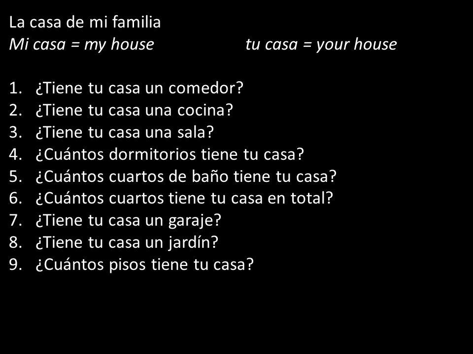 La casa de mi familia Mi casa = my house tu casa = your house. ¿Tiene tu casa un comedor ¿Tiene tu casa una cocina