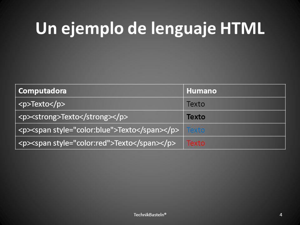 Un ejemplo de lenguaje HTML