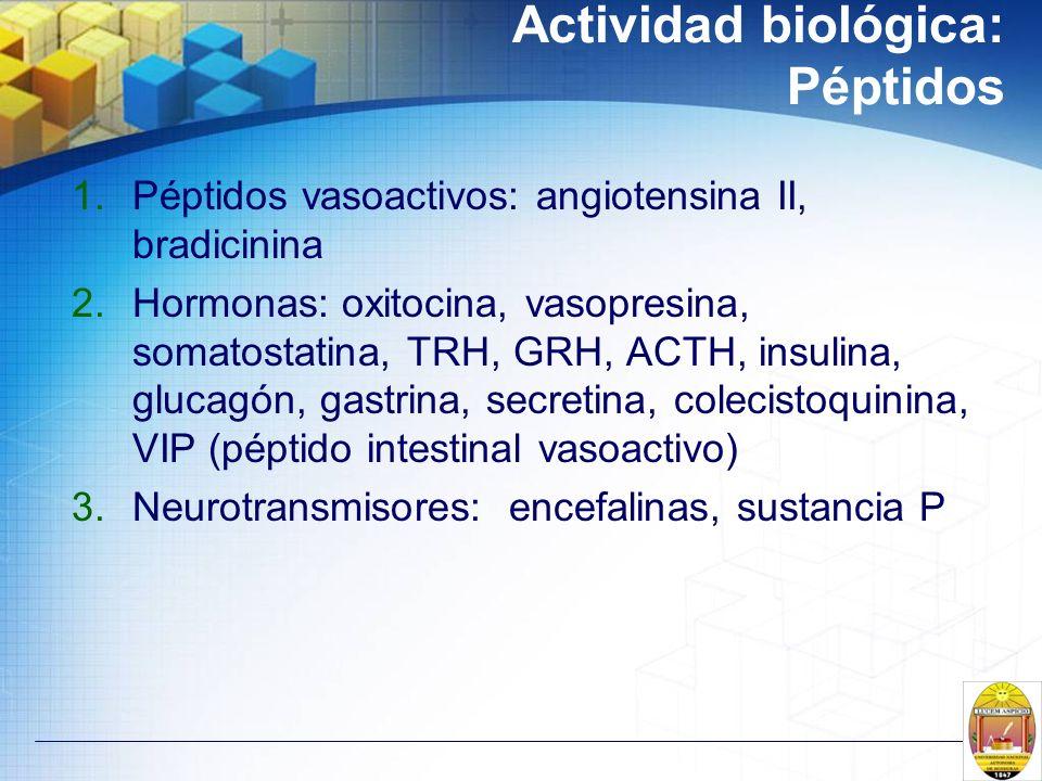 Actividad biológica: Péptidos