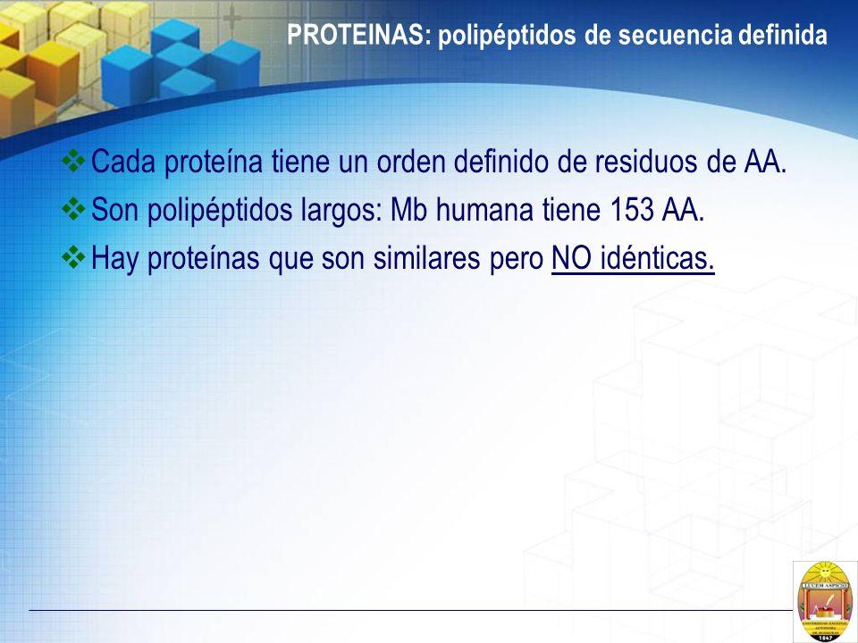 PROTEINAS: polipéptidos de secuencia definida