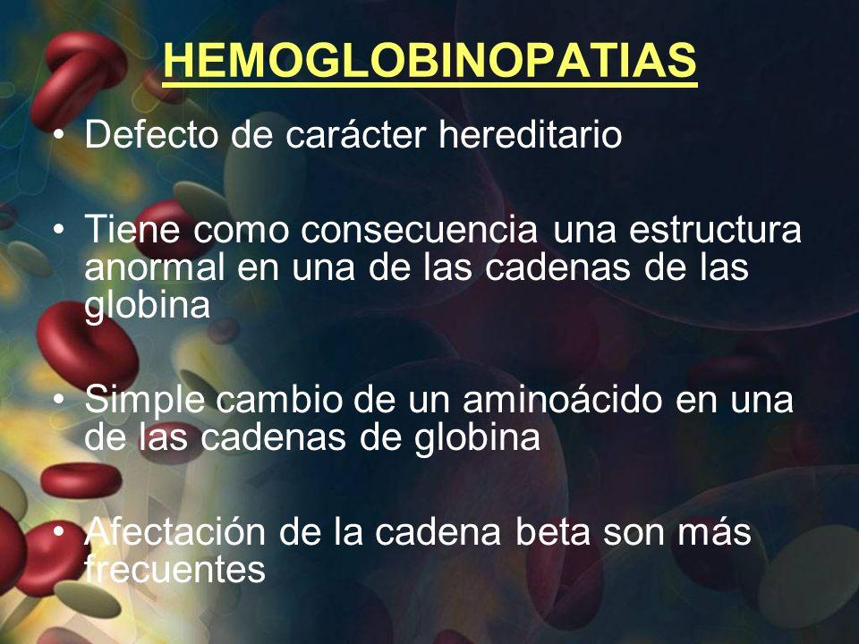 HEMOGLOBINOPATIAS Defecto de carácter hereditario