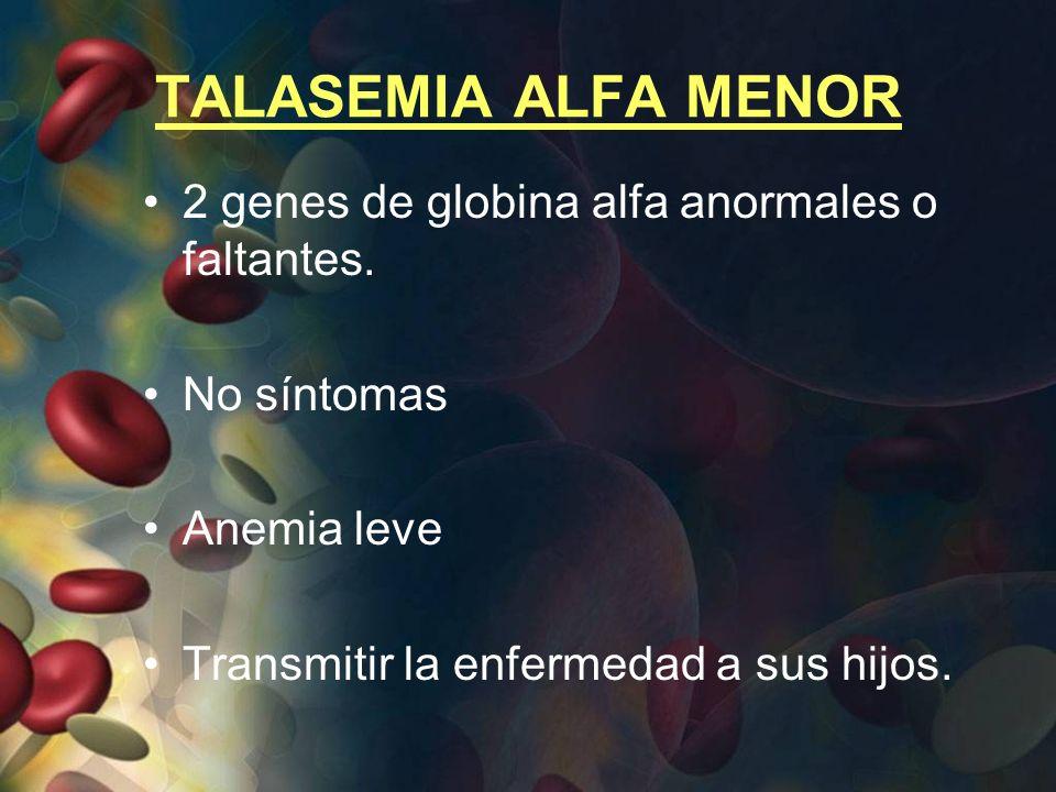 TALASEMIA ALFA MENOR 2 genes de globina alfa anormales o faltantes.
