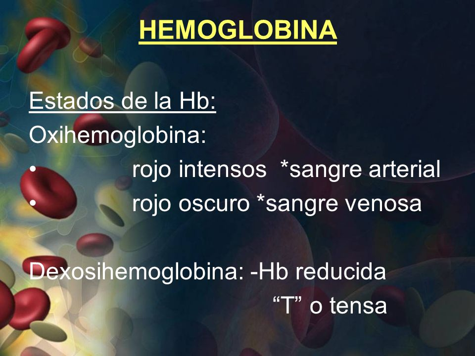 HEMOGLOBINA Estados de la Hb: Oxihemoglobina: