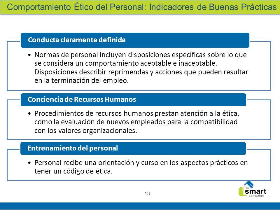 Comportamiento Ético del Personal: Indicadores de Buenas Prácticas
