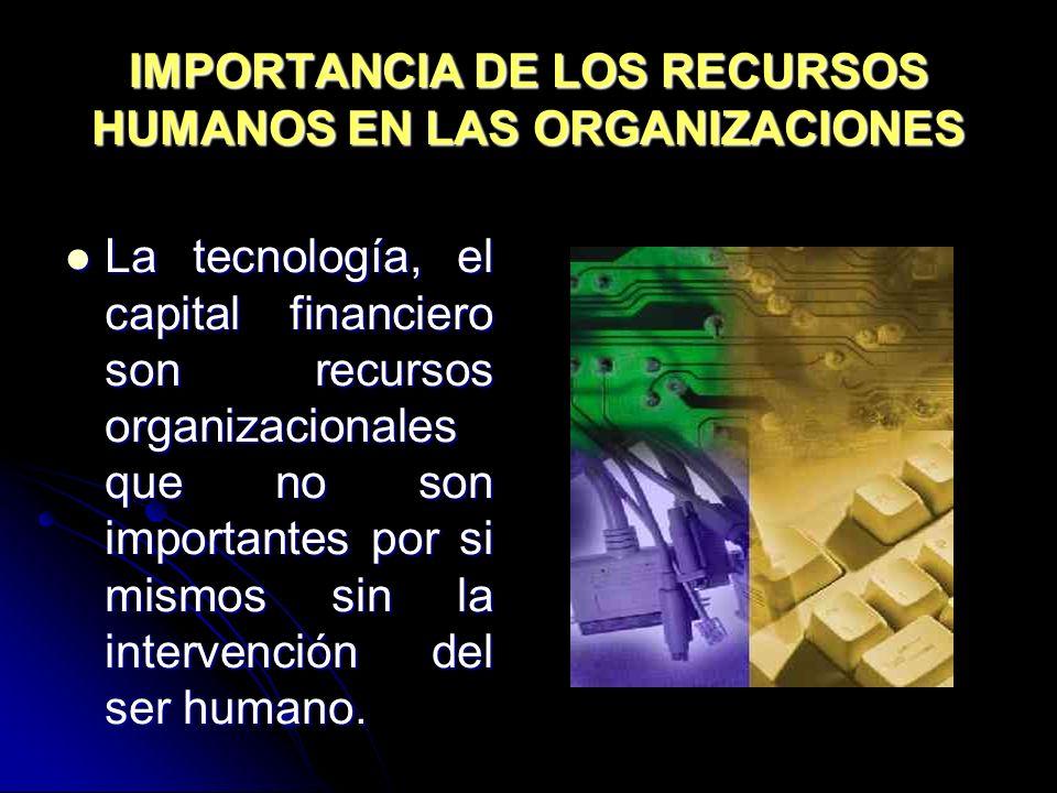 IMPORTANCIA DE LOS RECURSOS HUMANOS EN LAS ORGANIZACIONES
