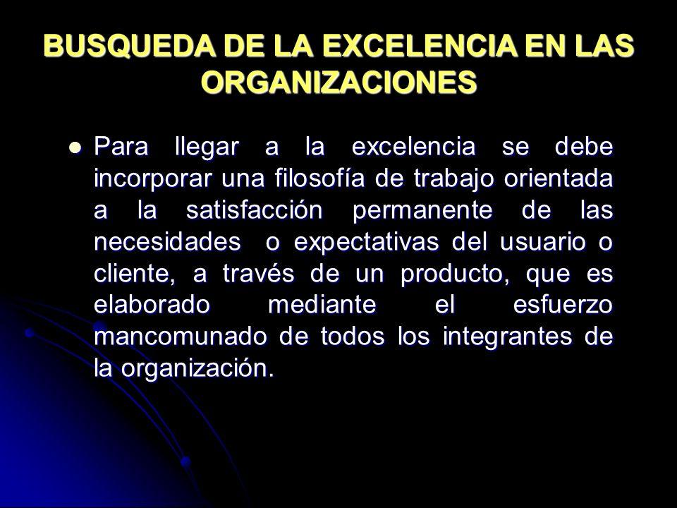 BUSQUEDA DE LA EXCELENCIA EN LAS ORGANIZACIONES