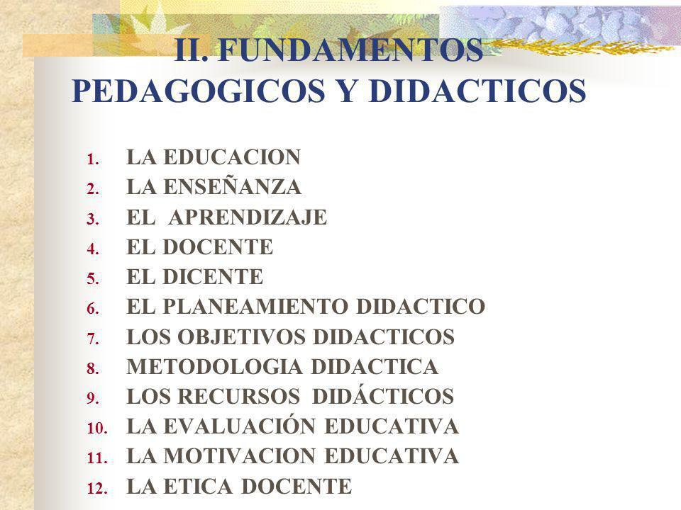II. FUNDAMENTOS PEDAGOGICOS Y DIDACTICOS