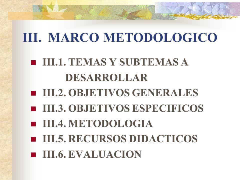 III. MARCO METODOLOGICO