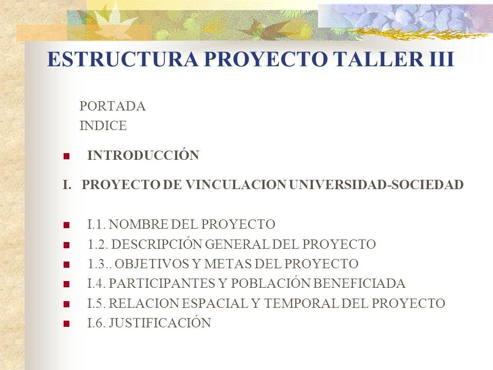 ESTRUCTURA PROYECTO TALLER III