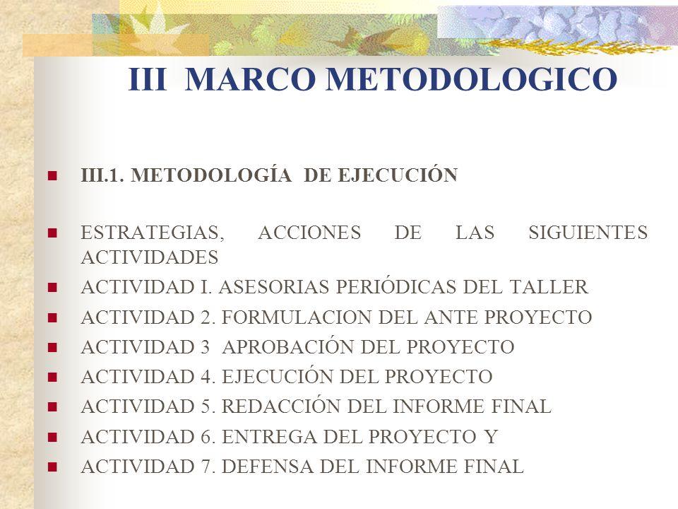 III MARCO METODOLOGICO