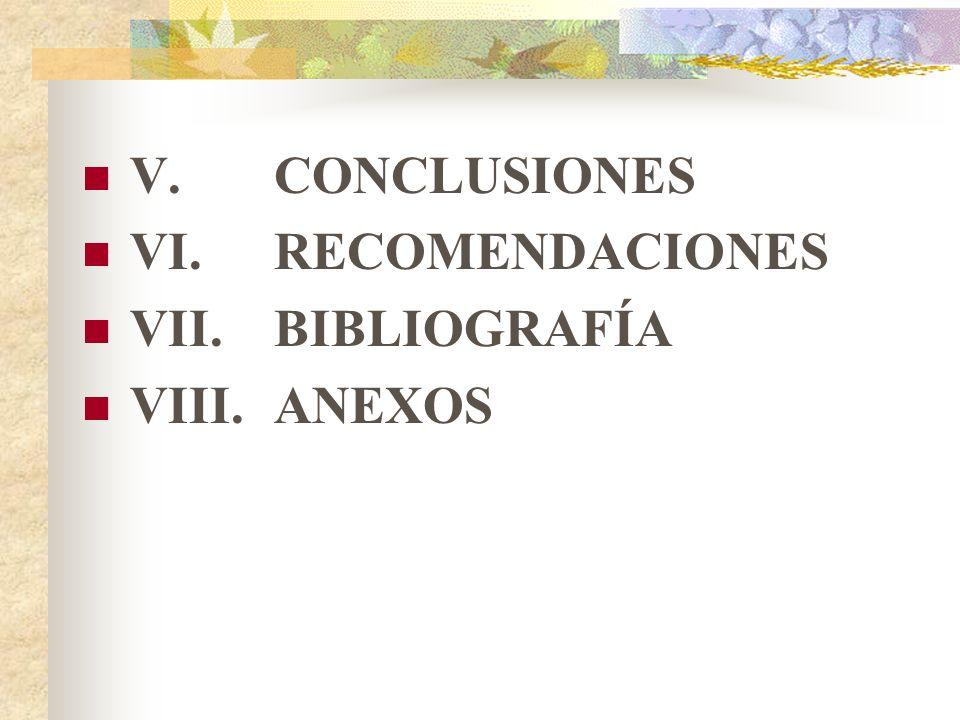 V. CONCLUSIONES VI. RECOMENDACIONES VII. BIBLIOGRAFÍA VIII. ANEXOS