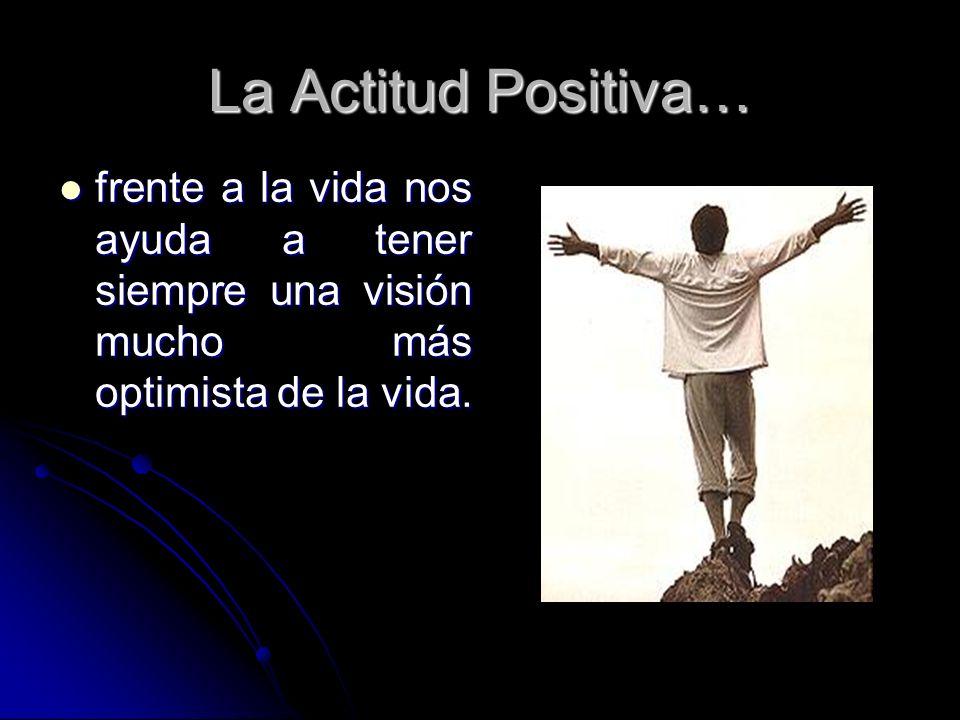 La Actitud Positiva…frente a la vida nos ayuda a tener siempre una visión mucho más optimista de la vida.