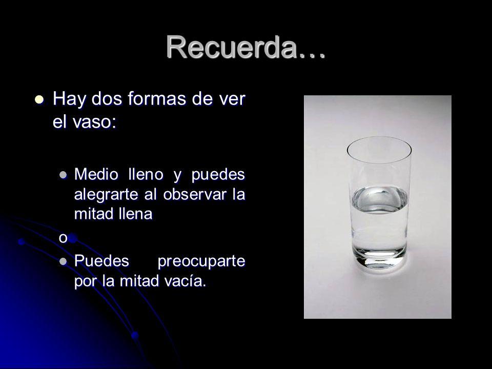 Recuerda… Hay dos formas de ver el vaso: