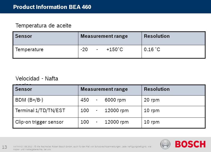 Product Information BEA 460