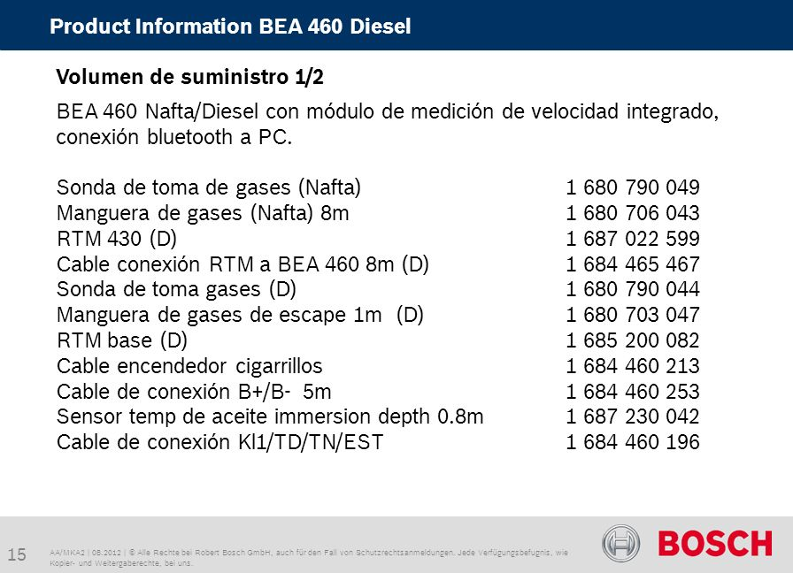 Product Information BEA 460 Diesel
