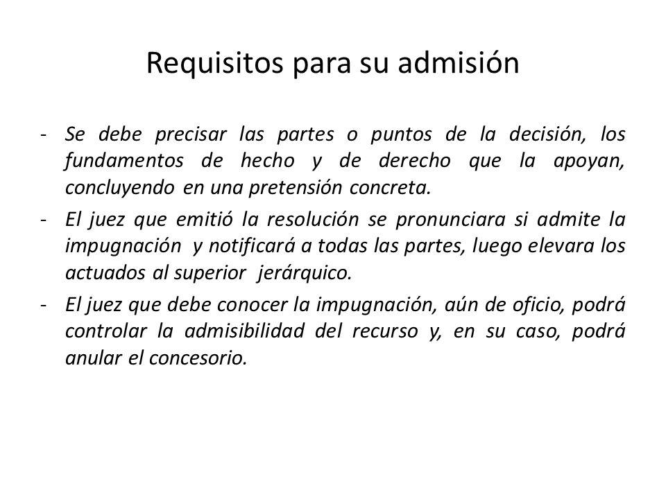 Requisitos para su admisión