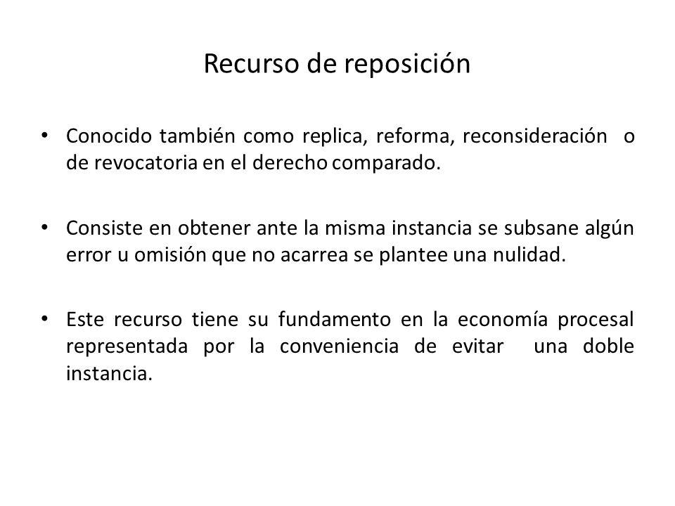 Recurso de reposiciónConocido también como replica, reforma, reconsideración o de revocatoria en el derecho comparado.