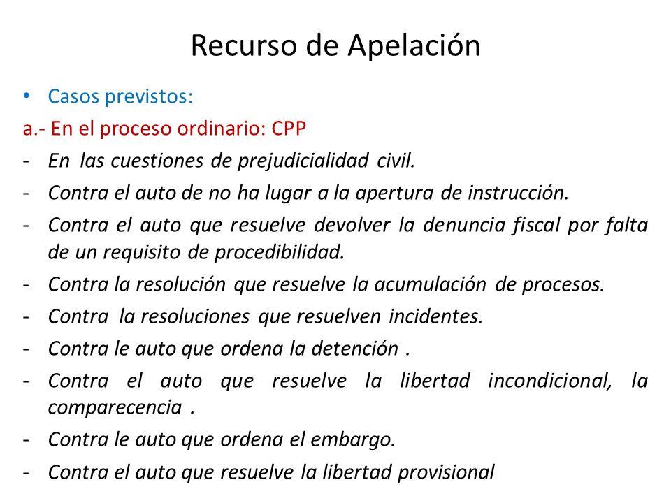 Recurso de Apelación Casos previstos: a.- En el proceso ordinario: CPP