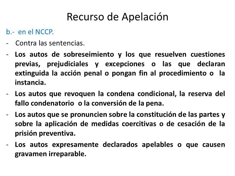 Recurso de Apelación b.- en el NCCP. - Contra las sentencias.