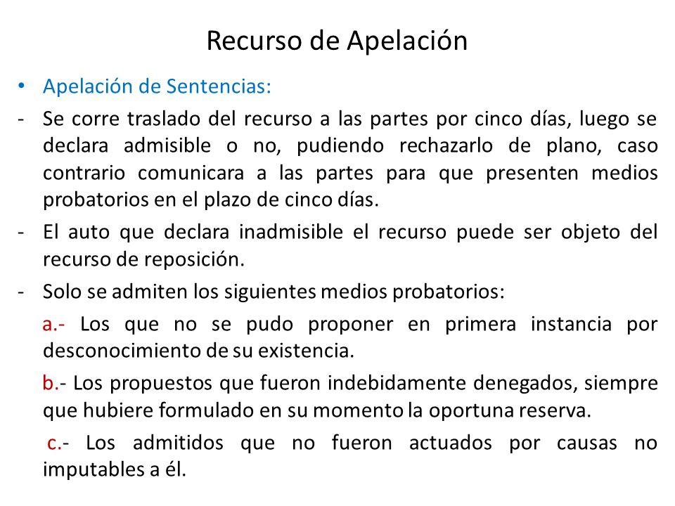 Recurso de Apelación Apelación de Sentencias: