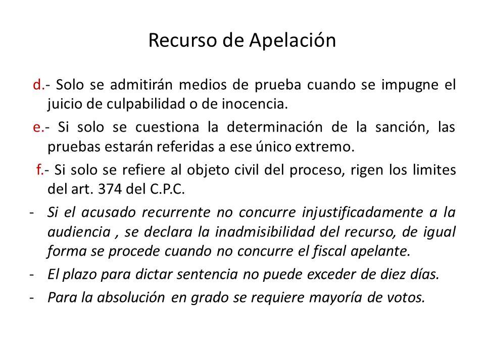 Recurso de Apelación d.- Solo se admitirán medios de prueba cuando se impugne el juicio de culpabilidad o de inocencia.