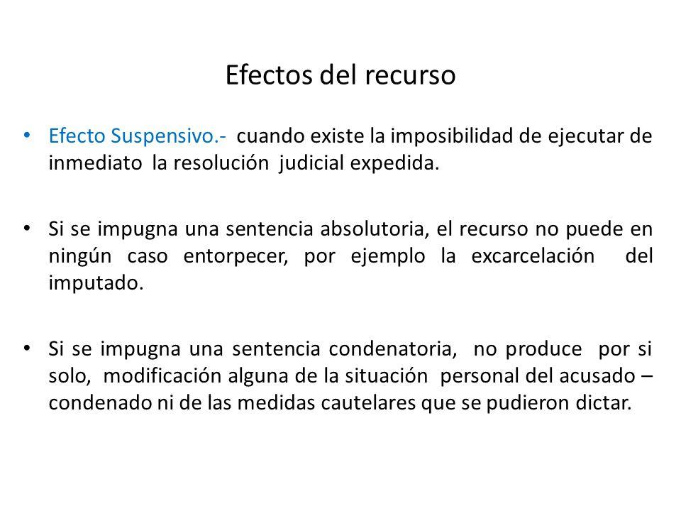 Efectos del recurso Efecto Suspensivo.- cuando existe la imposibilidad de ejecutar de inmediato la resolución judicial expedida.