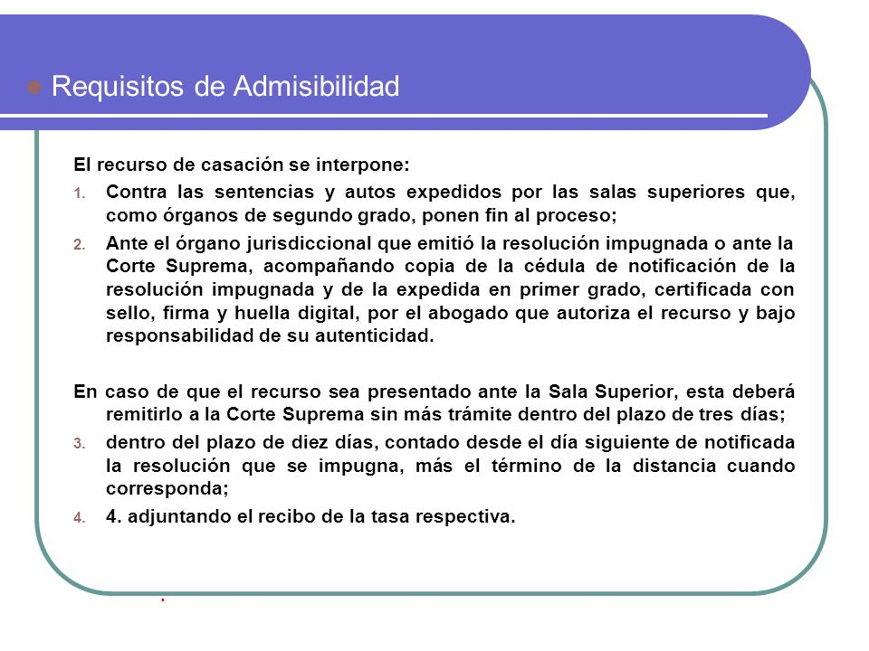 Requisitos de Admisibilidad