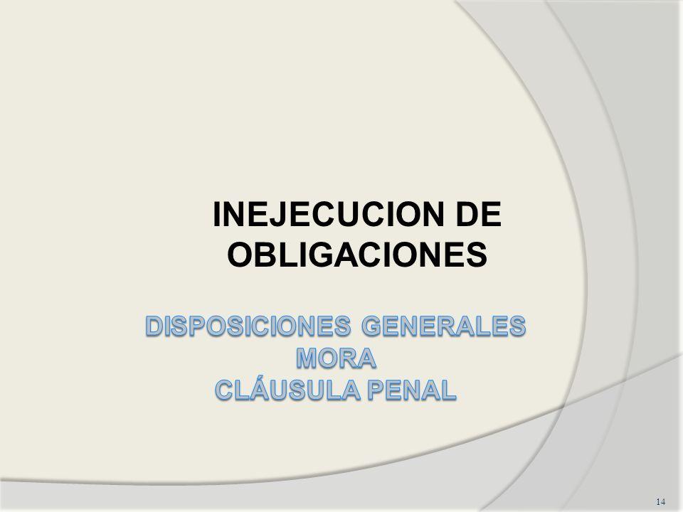 DISPOSICIONES GENERALES MORA CLÁUSULA PENAL