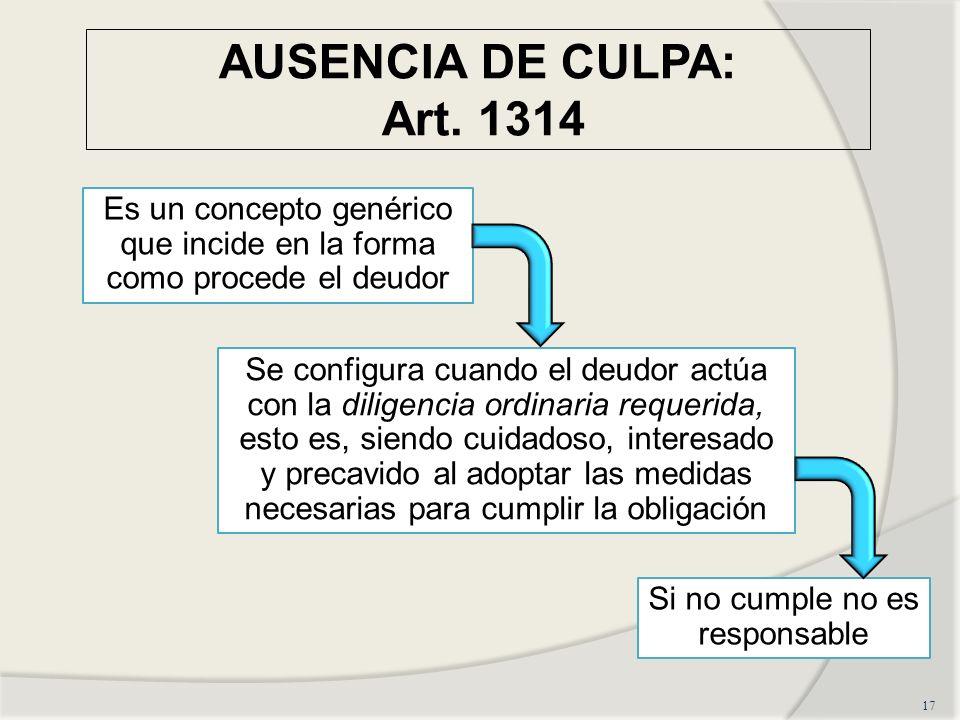 AUSENCIA DE CULPA: Art. 1314Es un concepto genérico que incide en la forma como procede el deudor.