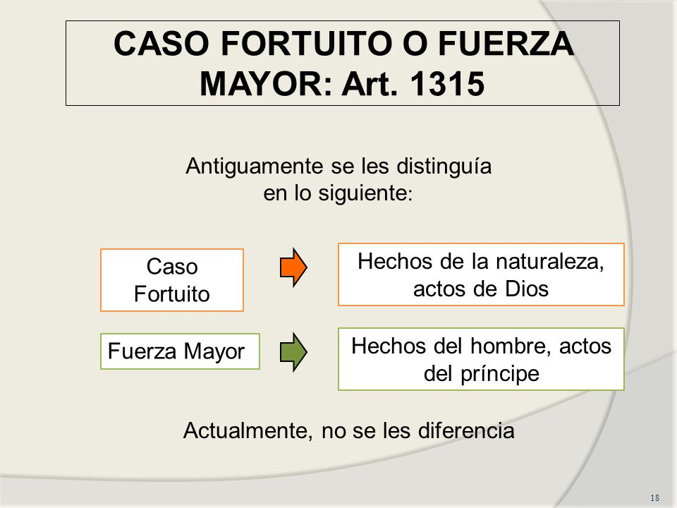 CASO FORTUITO O FUERZA MAYOR: Art. 1315