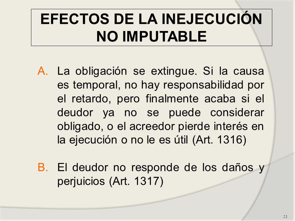 EFECTOS DE LA INEJECUCIÓN NO IMPUTABLE