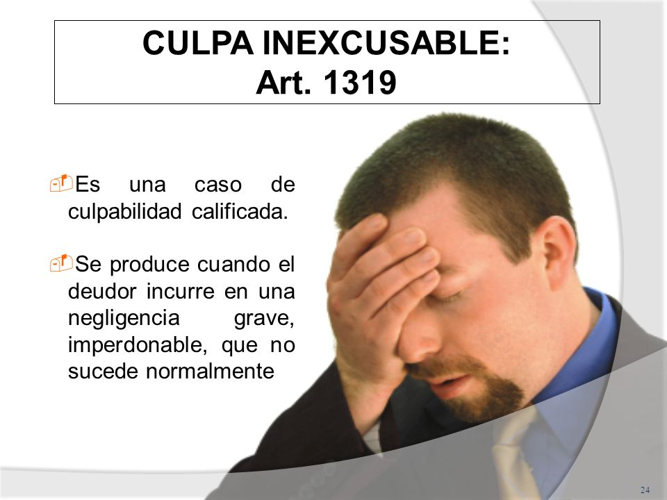 CULPA INEXCUSABLE: Art. 1319