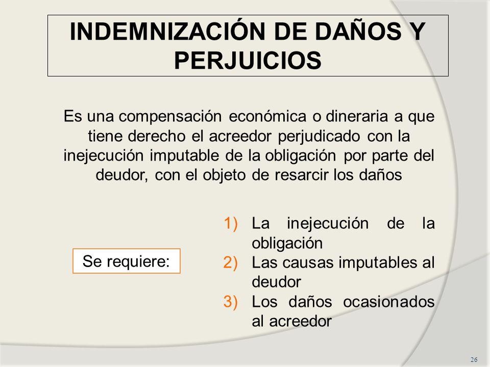 INDEMNIZACIÓN DE DAÑOS Y PERJUICIOS