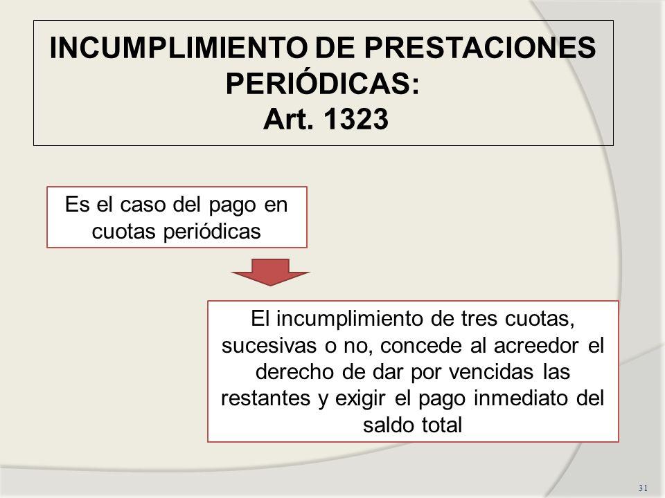 INCUMPLIMIENTO DE PRESTACIONES PERIÓDICAS: Art. 1323