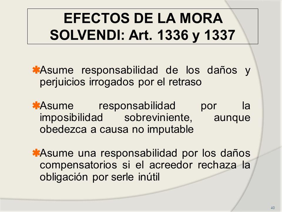 EFECTOS DE LA MORA SOLVENDI: Art. 1336 y 1337