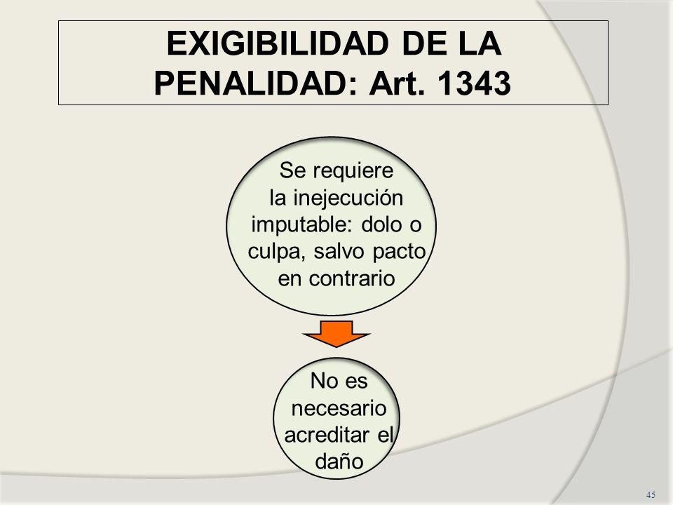 EXIGIBILIDAD DE LA PENALIDAD: Art. 1343