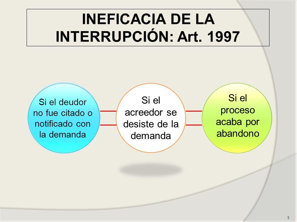 INEFICACIA DE LA INTERRUPCIÓN: Art. 1997