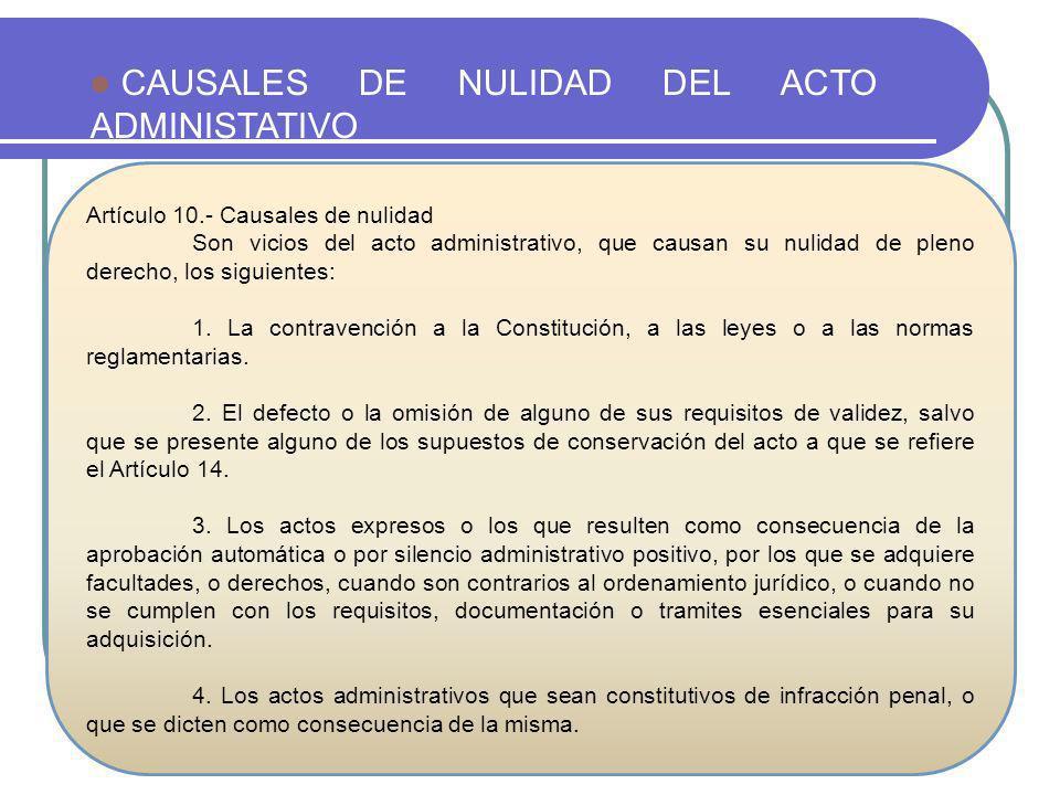 CAUSALES DE NULIDAD DEL ACTO ADMINISTATIVO