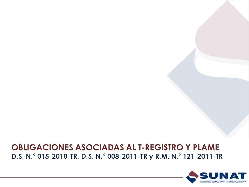 OBLIGACIONES ASOCIADAS AL T-REGISTRO Y PLAME D. S. N. ° 015-2010-TR, D