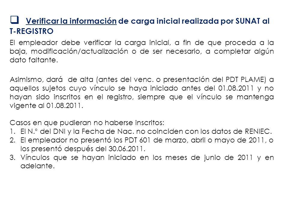 Verificar la información de carga inicial realizada por SUNAT al T-REGISTRO