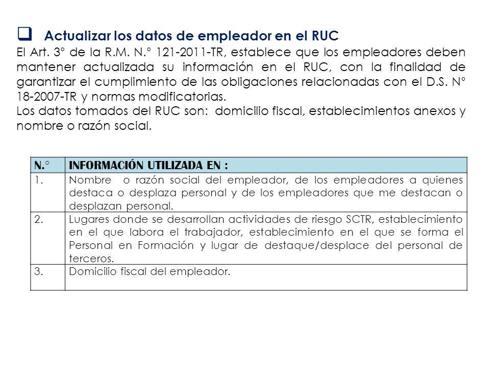 Actualizar los datos de empleador en el RUC