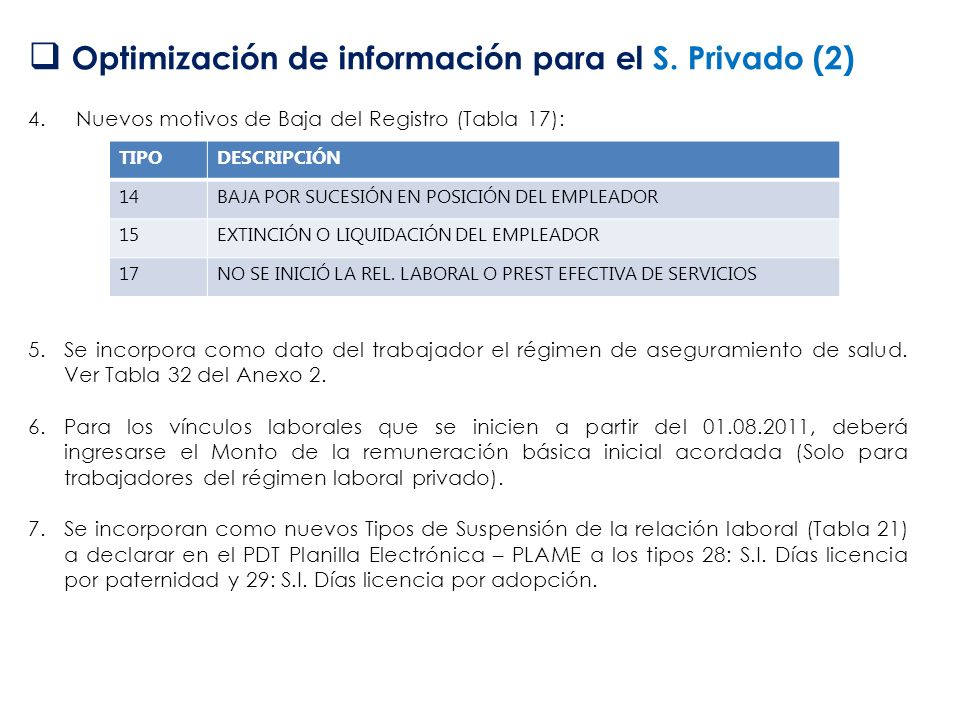 Optimización de información para el S. Privado (2)