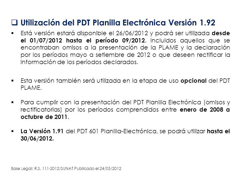 Utilización del PDT Planilla Electrónica Versión 1.92