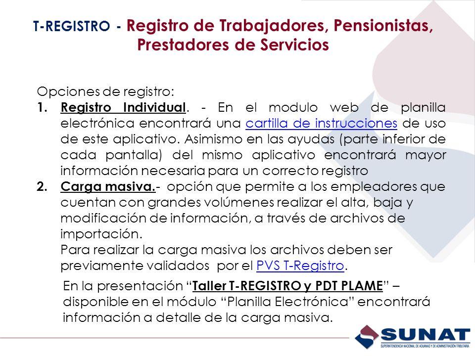 T-REGISTRO - Registro de Trabajadores, Pensionistas, Prestadores de Servicios